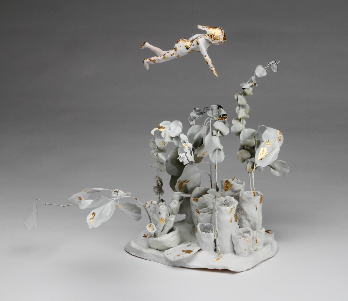 Hidden Beauty 2019 Stoneware clay, white paint, and gold leaf